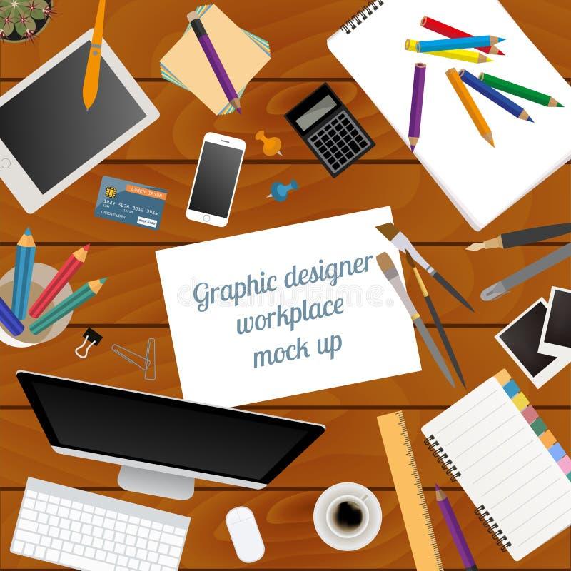 Espacio de trabajo del diseñador gráfico Mofa para arriba stock de ilustración
