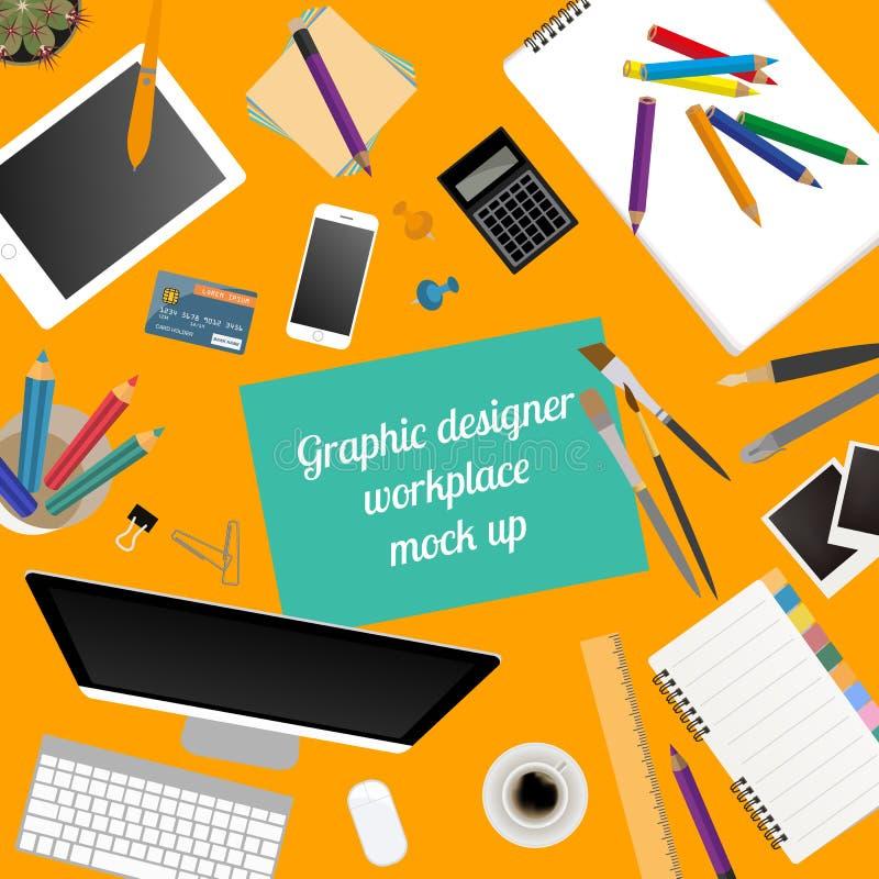 Espacio de trabajo del diseñador gráfico Mofa para arriba para crear sus los propio stock de ilustración