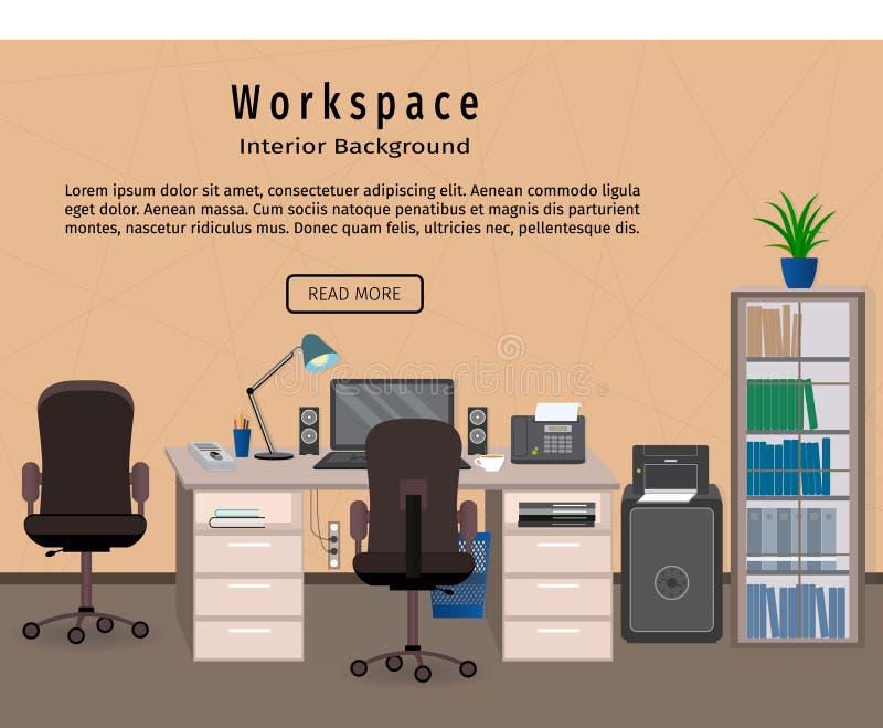 Espacio de trabajo del interior de la oficina Concepto de la organización del lugar de trabajo Bandera del diseño web ilustración del vector