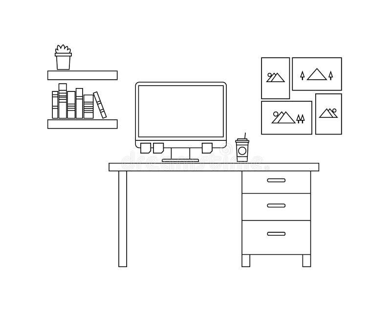 Espacio de trabajo del ordenador con estilo del esquema y color blanco y negro ilustración del vector