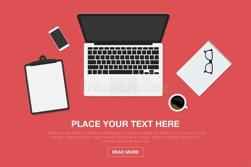 Espacio de trabajo en la visión superior Concepto de diseño moderno de lugar de trabajo Ordenador portátil y smartphone, taza de  stock de ilustración