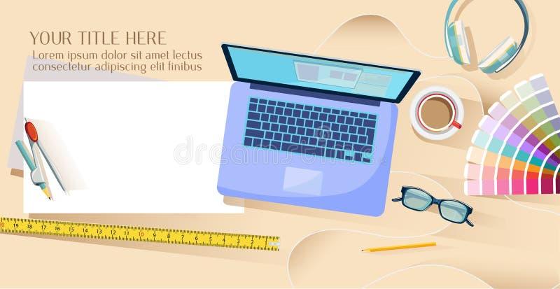 Espacio de trabajo interior de Designer's ilustración del vector