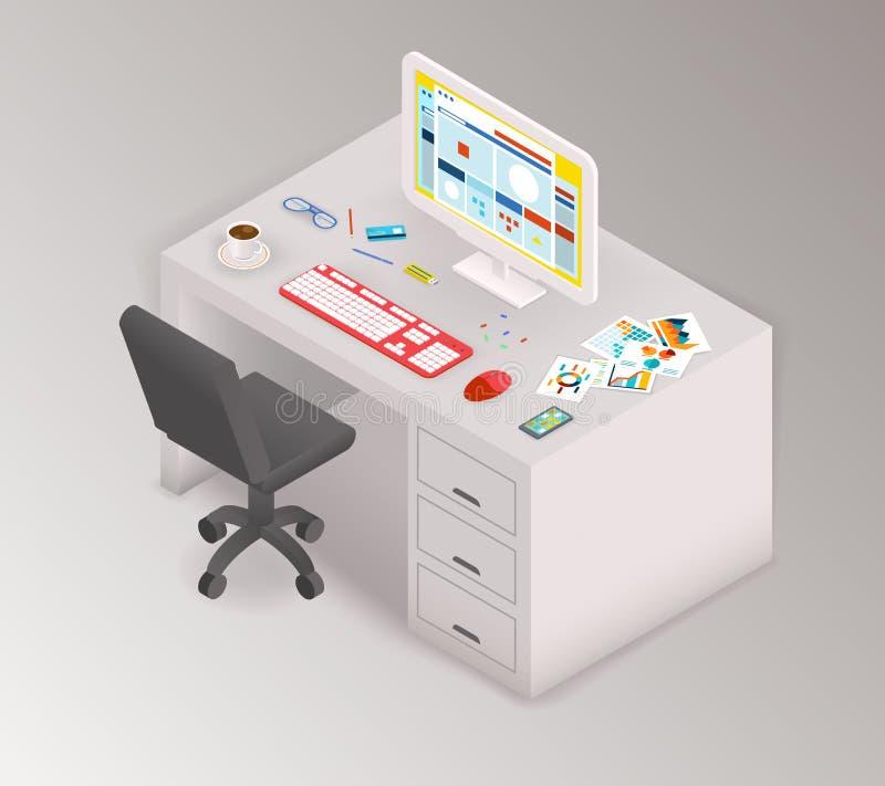 Espacio de trabajo isométrico de la oficina creativa ilustración del vector