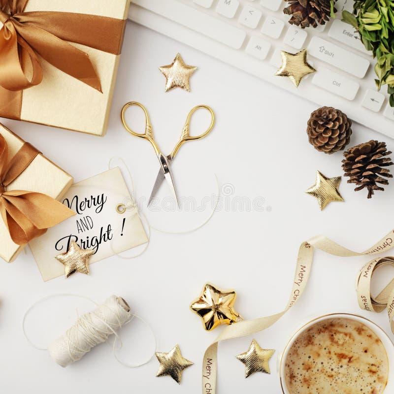 Espacio de trabajo de la Navidad fotos de archivo