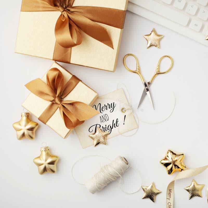 Espacio de trabajo de la Navidad fotografía de archivo libre de regalías