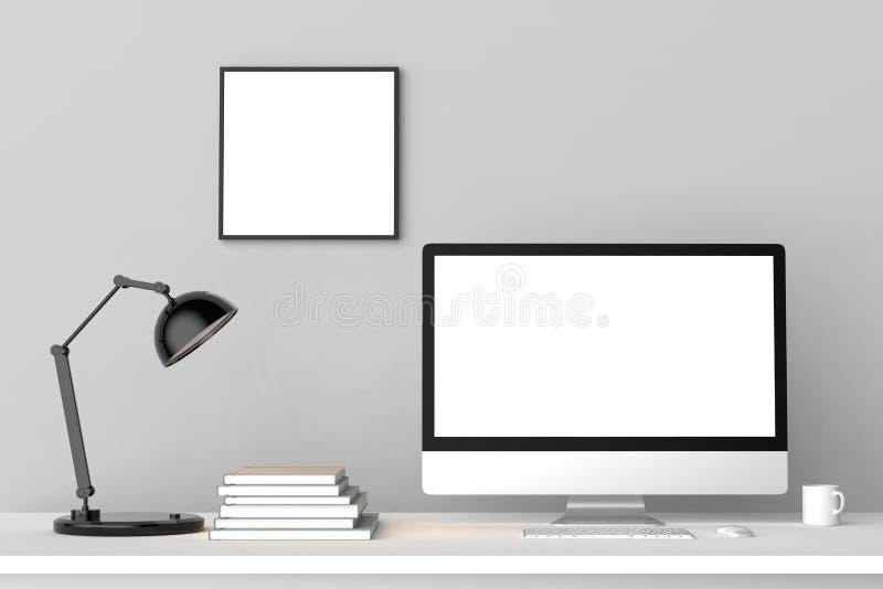 Espacio de trabajo moderno con el marco vacío aislado en la pared de ladrillo y la ISO libre illustration