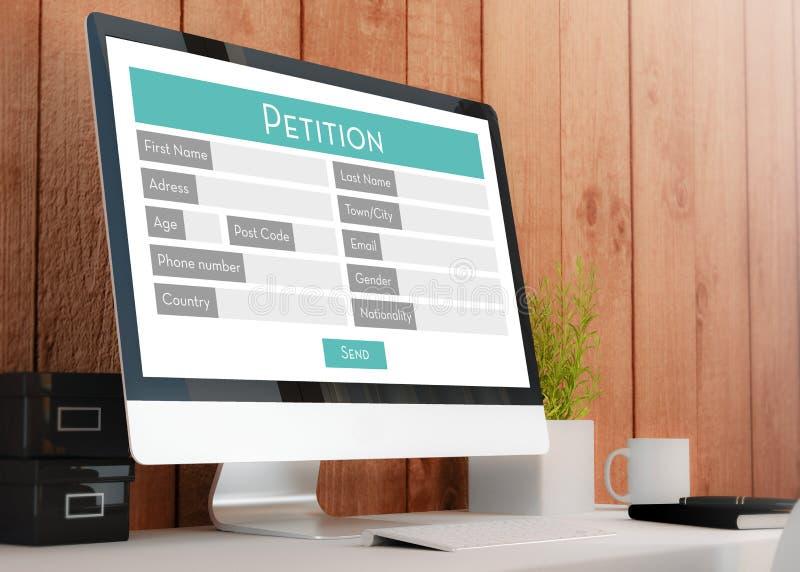 espacio de trabajo moderno con la forma de la petición libre illustration