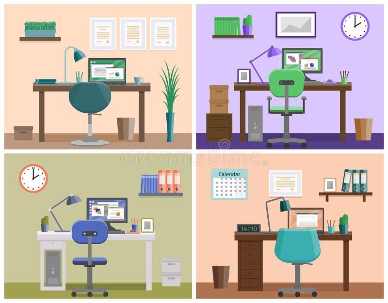 Espacio de trabajo o lugar de trabajo interior plano en casa Fondo del vector stock de ilustración