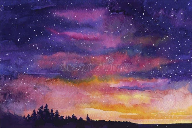Espacio del fondo del vector de la acuarela, estrellas, constelación, nebulosa ilustración del vector