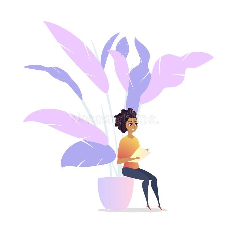 Espacio del salón de la frialdad del carácter de la mujer del Freelancer stock de ilustración