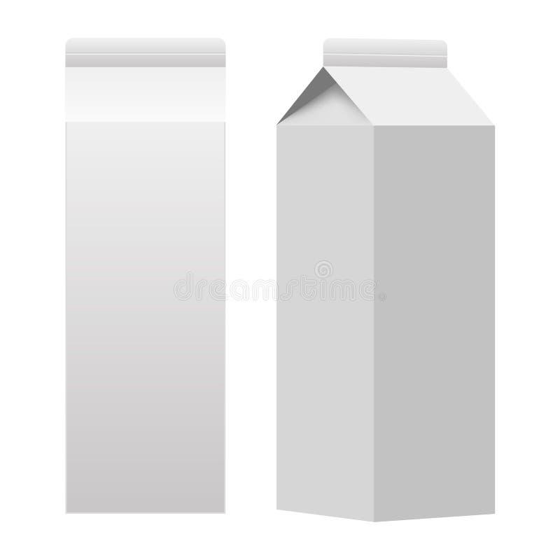 Espacio en blanco blanco de empaquetado de la caja del paquete del cartón de la leche o del jugo aislado Vector stock de ilustración