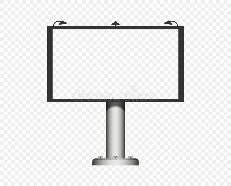 Espacio en blanco de la cartelera del vector con las luces en un estante, disposición Objeto cubierto en un fondo transparente ai stock de ilustración