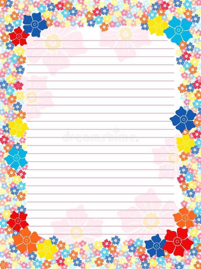 Espacio en blanco de la libreta con el marco multicolor floral ilustración del vector
