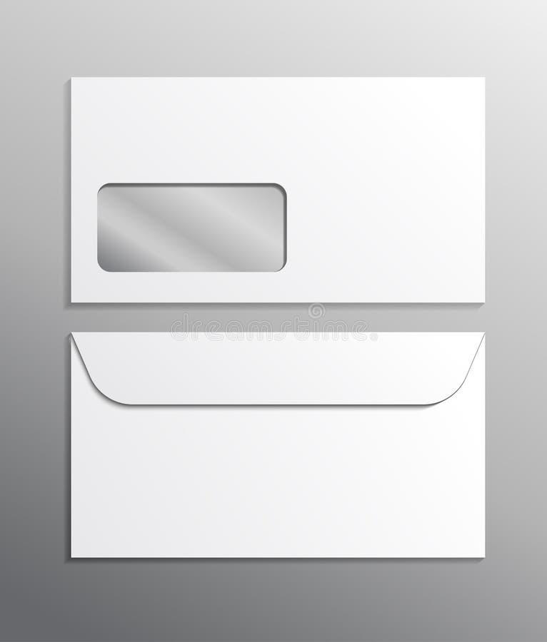 Espacio en blanco blanco de la maqueta realista del anuncio del vector del sobre 3d Envíe el ejemplo aislado cerrado plantilla de stock de ilustración