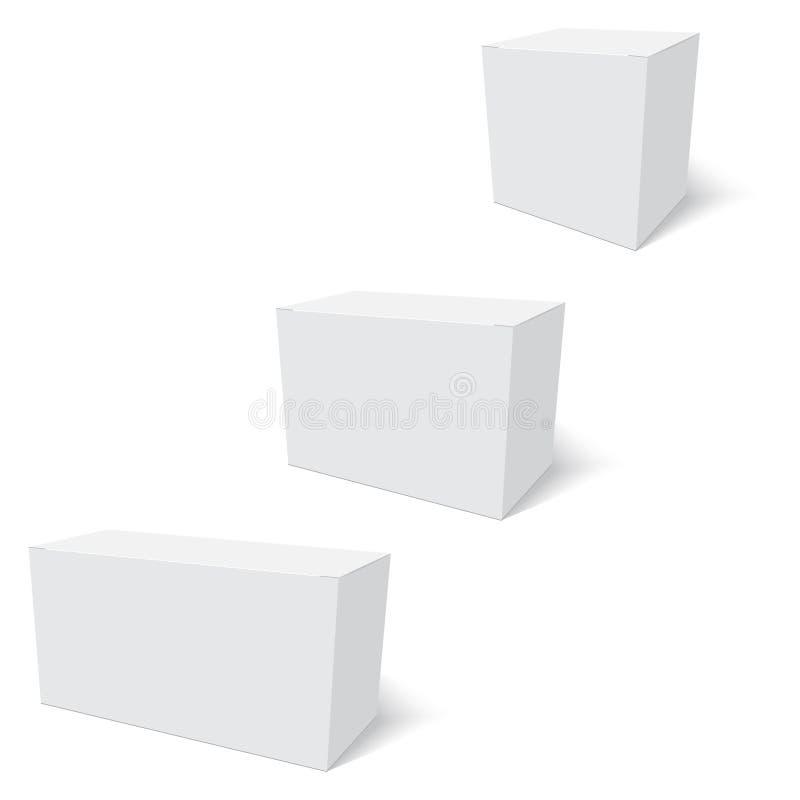 Espacio en blanco de la situación de la plantilla de la caja de papel en el fondo blanco Vector stock de ilustración
