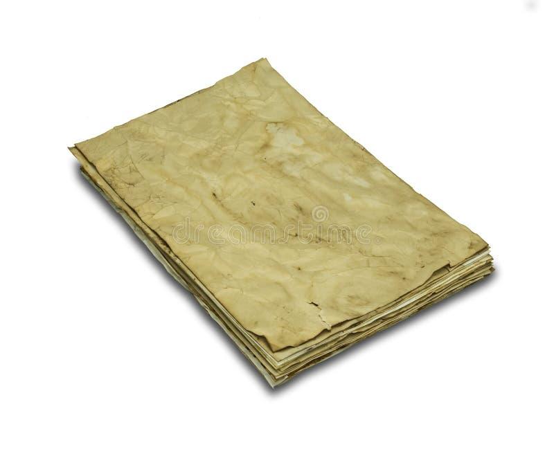Espacio en blanco de la vendimia - viejo espacio en blanco de las notas, papel manchado sucio aislado en un fondo blanco imagenes de archivo