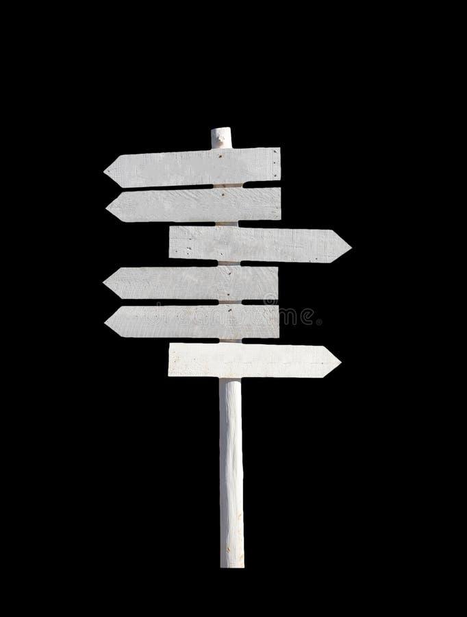 Espacio en blanco de madera blanco de las flechas del poste indicador foto de archivo