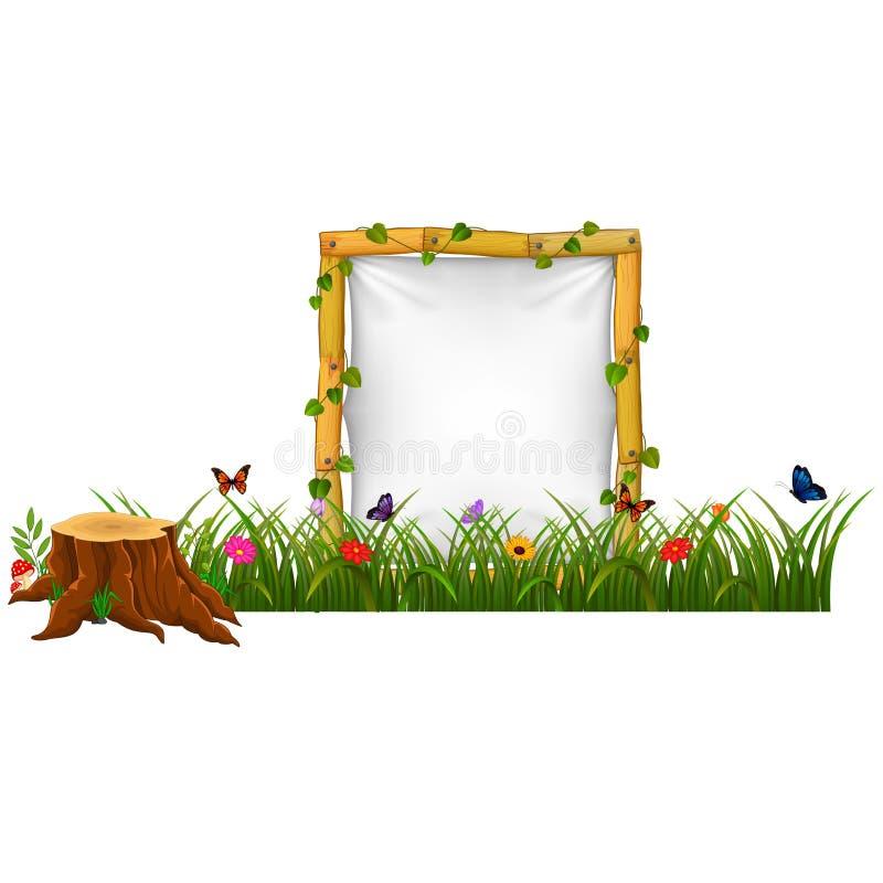 Espacio en blanco de papel vacío en letrero de madera en el jardín stock de ilustración