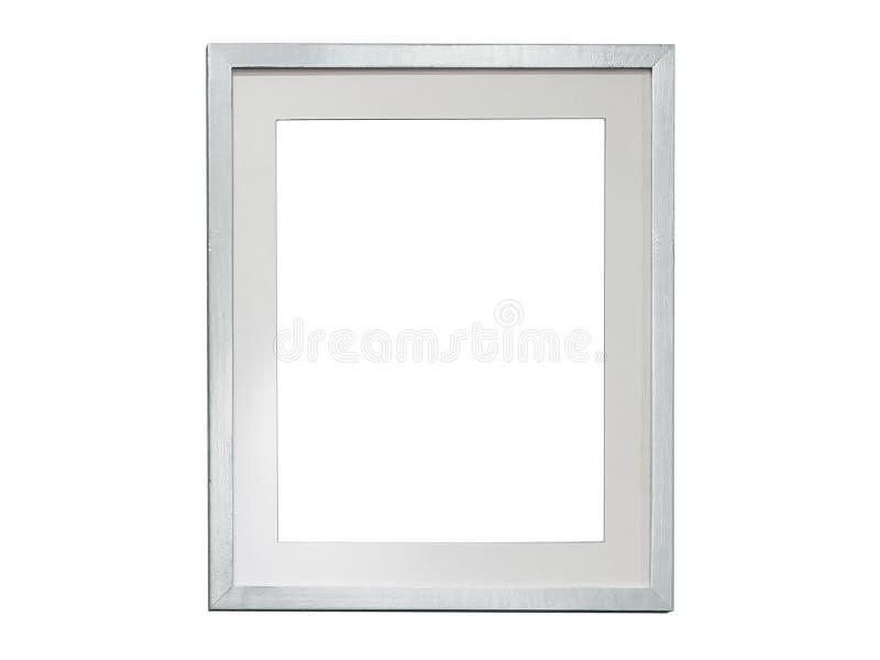Espacio en blanco de plata del marco de la foto en el fondo blanco imagenes de archivo