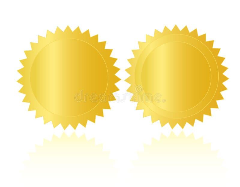 Espacio en blanco de /Stamp /Medal del sello del oro stock de ilustración