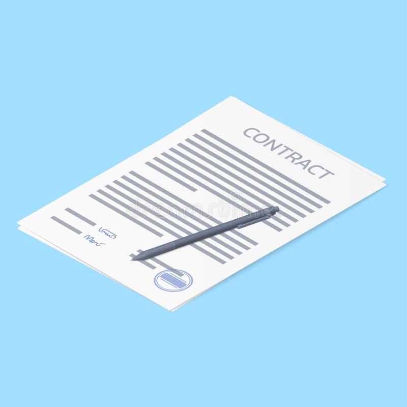 Espacio en blanco del papel de acuerdo de contrato con la firma y la pluma del sello Ejemplo isométrico del vector libre illustration
