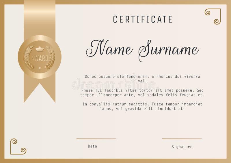 Espacio en blanco del vector de la plantilla del premio del certificado en colores oro stock de ilustración