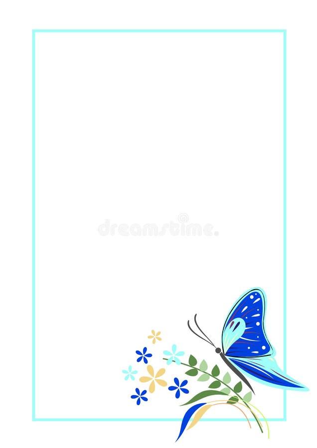 Espacio en blanco del vector para la tarjeta de la letra o de felicitación Forma azul con el marco, la mariposa y las flores Form ilustración del vector