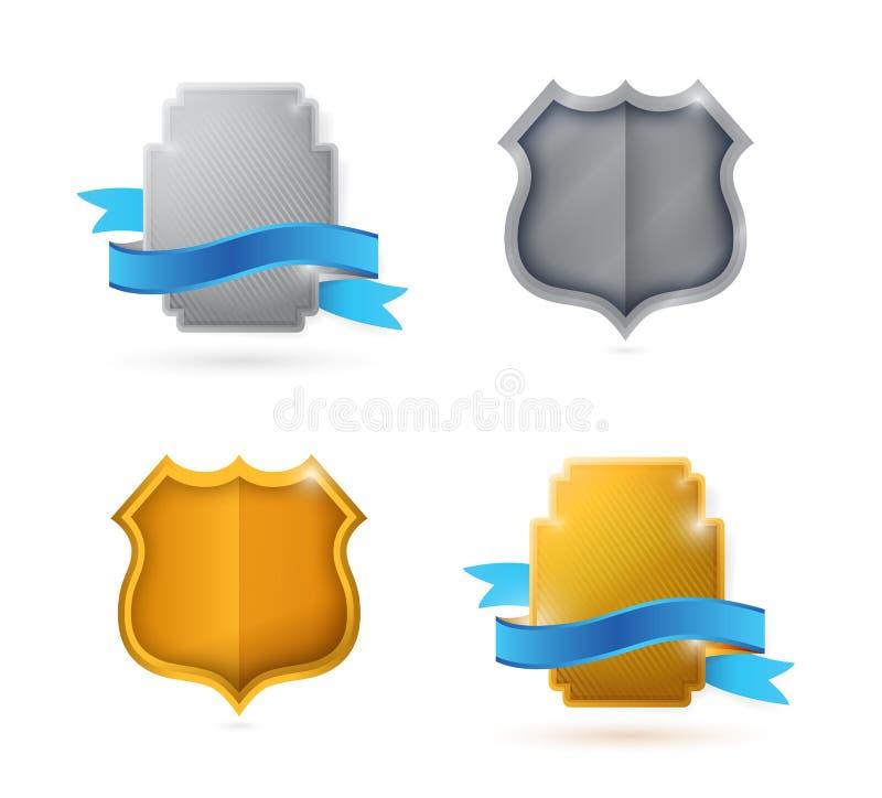 Espacio en blanco. escudo y sellos vacíos para el arreglo para requisitos particulares ilustración del vector
