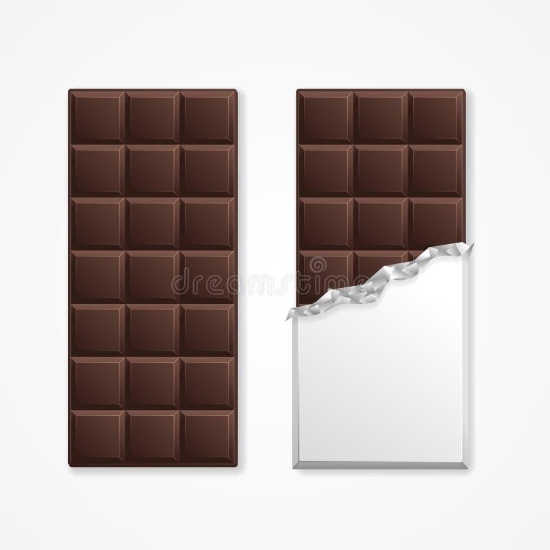 Espacio en blanco negro de la barra del paquete del chocolate Vector ilustración del vector