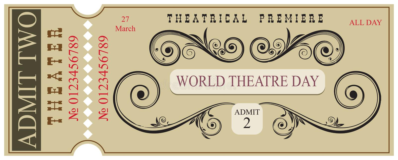 Espacio en blanco para el día del teatro del mundo del boleto ilustración del vector