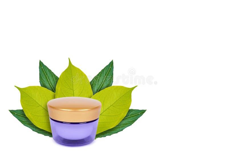 espacio en blanco que empaqueta el pote poner crema cosmético en el fondo de hojas verdes Aislado en blanco noción del origen nat fotos de archivo libres de regalías