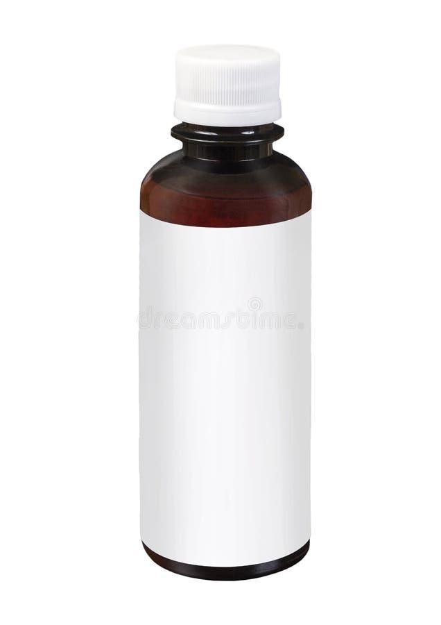 Espacio en blanco que empaqueta el tarro plástico transparente marrón con el casquillo blanco aislado en el fondo blanco fotografía de archivo