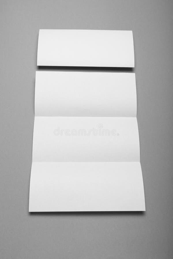 Espacio en blanco triple del folleto, aviador vacío del negocio, folleto imagenes de archivo