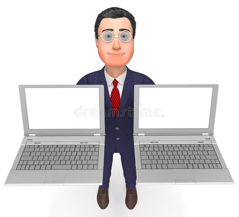 Espacio en blanco y comunicación de Holding Laptops Indicates del hombre de negocios stock de ilustración