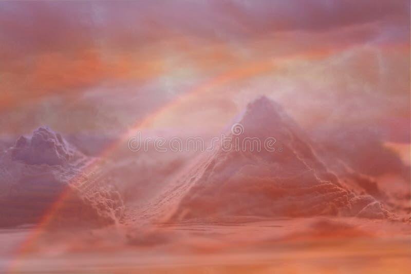 Espacio, exoplanet Paisaje fantástico de la montaña con un arco iris fotografía de archivo libre de regalías