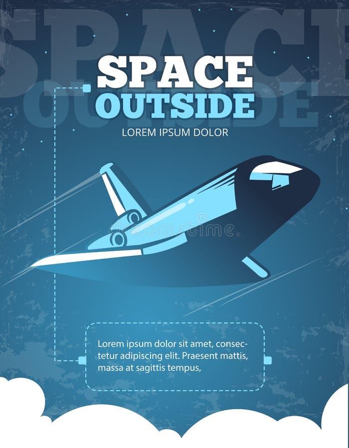 Espacio exterior, aventura del universo, cartel del vector del vintage del viaje de la galaxia libre illustration
