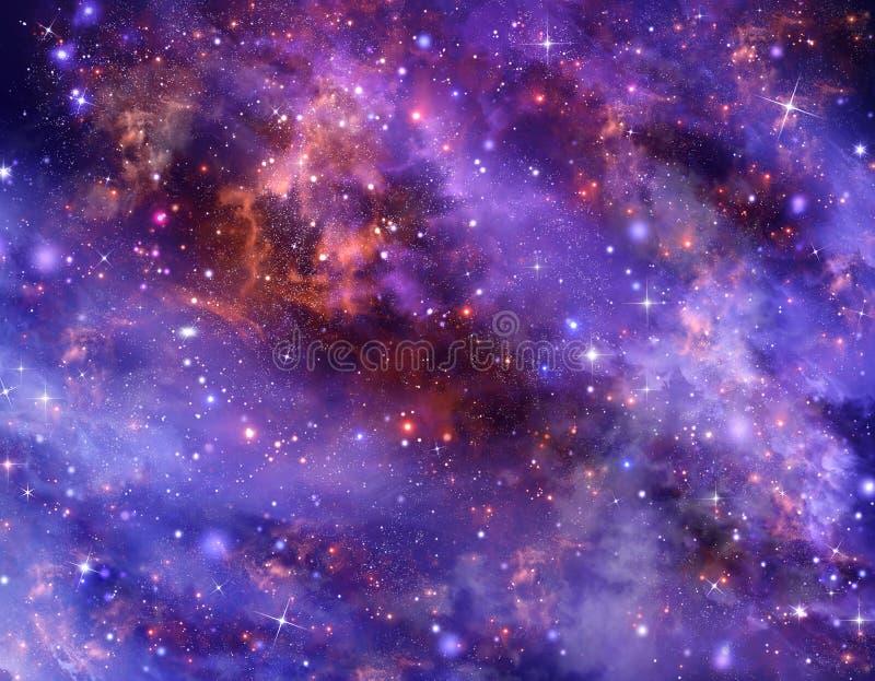 Espacio exterior profundo del cielo nocturno estrellado stock de ilustración