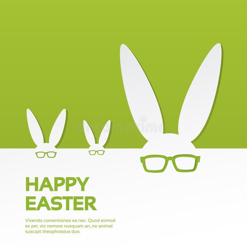 Espacio feliz de la copia de la bandera del día de fiesta de Pascua del grupo de los vidrios del desgaste de los oídos de conejo ilustración del vector