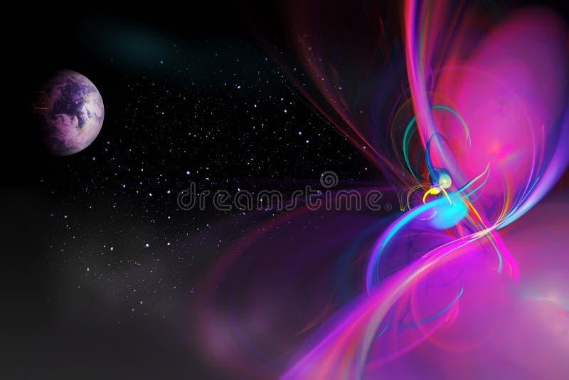 Espacio ficticio con los planetas ilustración del vector
