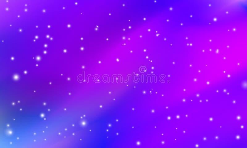 Espacio, fondo azul púrpura de la galaxia con las estrellas y la llamarada brillantes, eternidad y modelo del infinito libre illustration