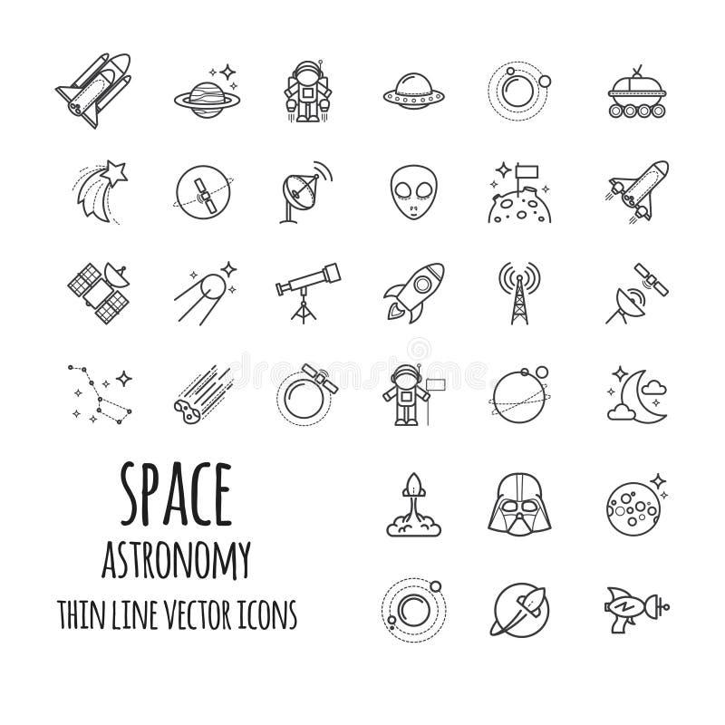 Espacio, iconos del esquema de la astronomía fijados libre illustration