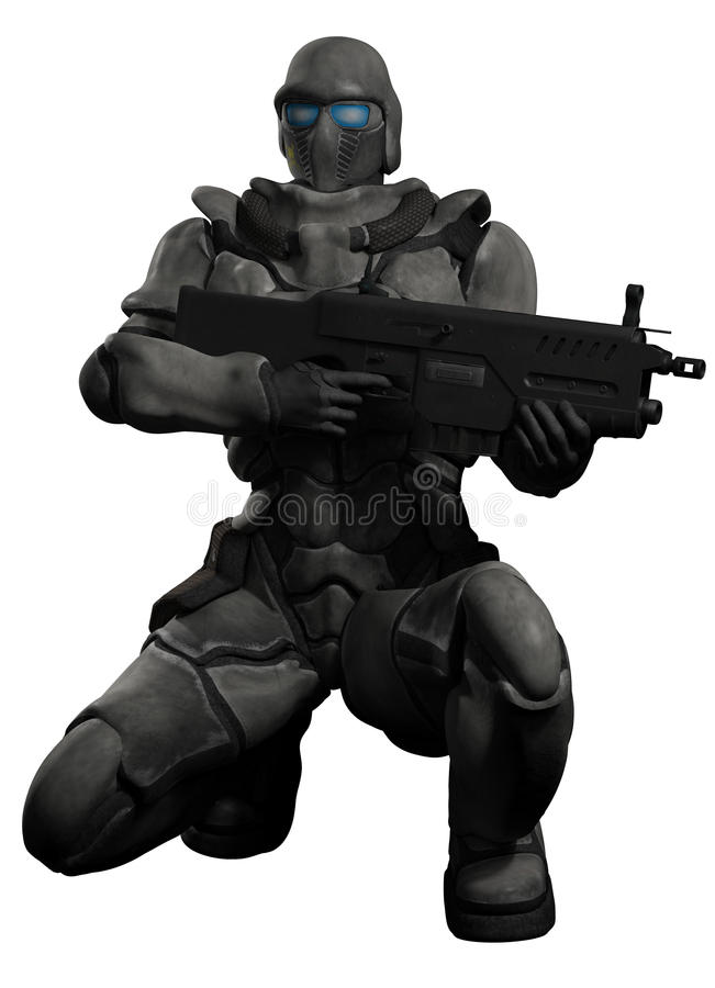 Espacio Marine Trooper Crouching ilustración del vector