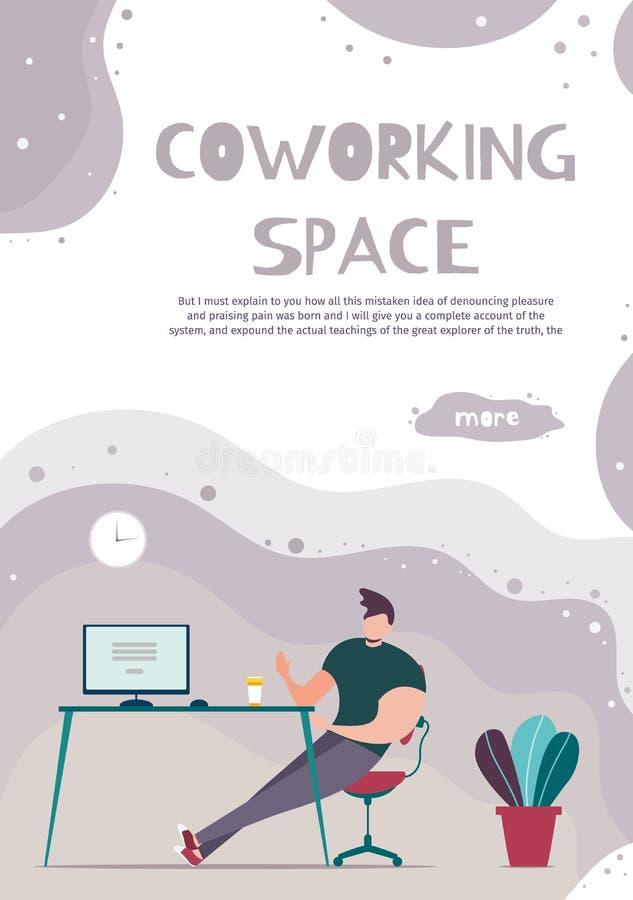 Espacio moderno de Coworking de la publicidad móvil de la página stock de ilustración