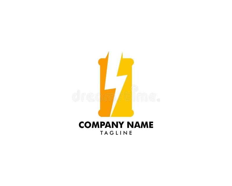 Espacio negativo de la plantilla del vector del diseño del logotipo de la bebida de la energía, icono enérgico del concepto del l stock de ilustración