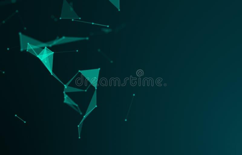 Espacio polígonal abstracto fondo oscuro de polos bajos con puntos y líneas de conexión Estructura de conexión Ciencia Futurista fotos de archivo