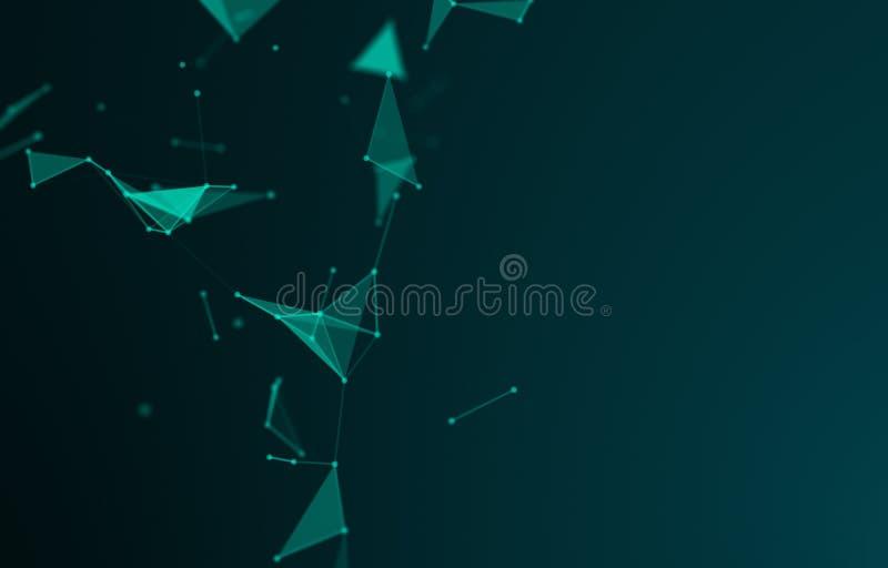 Espacio polígonal abstracto fondo oscuro de polos bajos con puntos y líneas de conexión Estructura de conexión Ciencia Futurista imagen de archivo libre de regalías