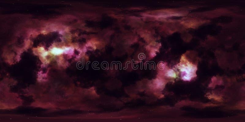 Espacio profundo de la nebulosa de las estrellas panorama esférico de 360 grados ilustración del vector