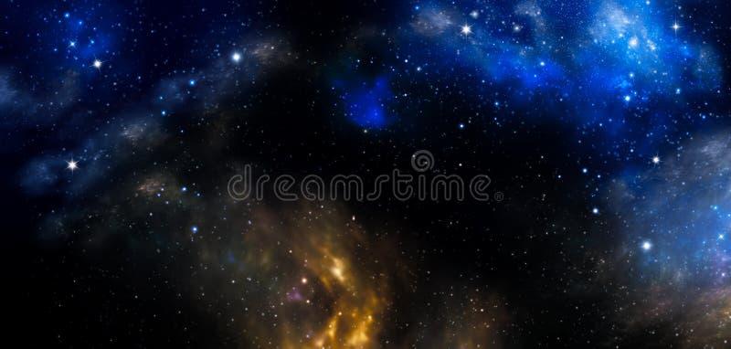 Espacio profundo, fondo azul abstracto ilustración del vector