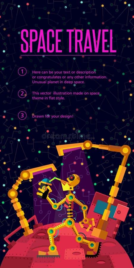 Espacio profundo Planeta de los robots El robot está bebiendo el aceite stock de ilustración