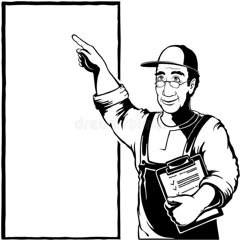 Espacio retro de la copia de la tinta de dibujo del vintage de Service Repairman Fingerpoint del especialista libre illustration
